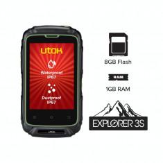 Smartphone Utok Explorer 3S . Dual Sim, 3.5 Inch IPS, 8 GB Flash, 1 GB RAM, IP67, Android KitKat, Negru/Verde - Telefon mobil Utok