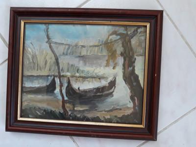 Peisaj de delta, tablou in ulei pe carton foto