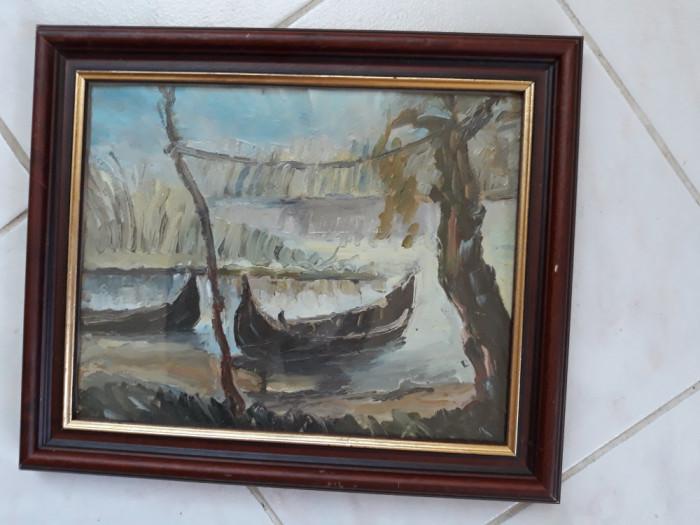 Peisaj de delta, tablou in ulei pe carton