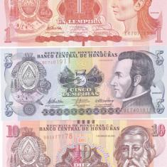 Bancnota Honduras 1, 5 si 10 Lempiras 2010-12 - P86-96 UNC ( set x3 ) - bancnota america