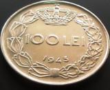 Moneda 100 Lei - ROMANIA, anul 1943   *cod 3857   XF+++