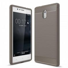 Husa Nokia 3 TPU Carbon Fibre Brushed- Bonus Folie Protectie Ecran - Husa Telefon, Gri, Silicon, Carcasa