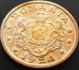 Moneda (Bun pentru) 1 LEU - ROMANIA, anul 1924  *cod 4627 - Poissy