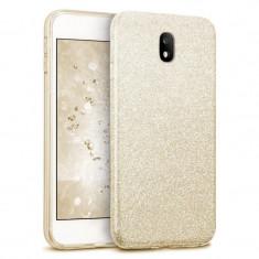 Husa Samsung Galaxy J7 2017 Shiny TPU Sclipici - Bonus Folie Ecran - Husa Telefon, Auriu, Silicon