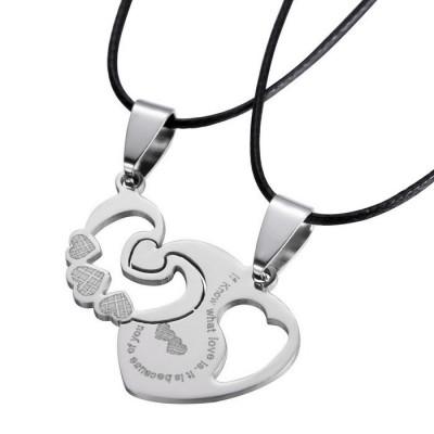 Pandantiv cuplu indragostiti inim  cu snururi medalion pentru cuplu set 2 bucati foto