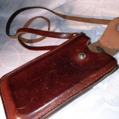 HUSA DIN PIELE NATURALA, PENTRU BANI, TELEFON. - Husa Telefon, Maro