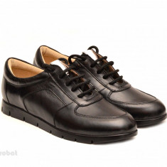 Pantofi dama sport-casual negri din piele naturala cu siret cod P110 - Pantof dama, Culoare: Negru, Marime: 35, 36, 37, 38, 39, 40, Cu talpa joasa
