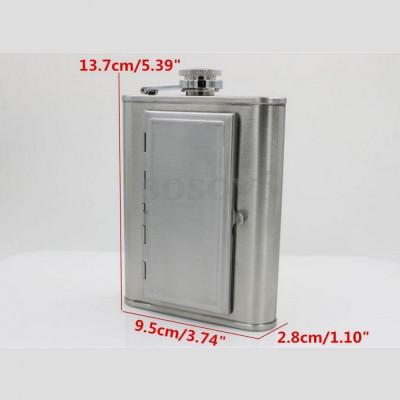 Sticla din inox cu tabachera de buzunar flask butelca 180ml palnie cadou foto