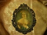 Tablouas stampa pe matase, rama bronz Baroc Victorian, sec 19