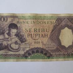 Rara! Indonezia/Indonesia 1000 Rupiah 1958 - bancnota asia