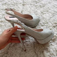 Sandale noi Nissa 40 - Sandale dama Nissa, Culoare: Argintiu