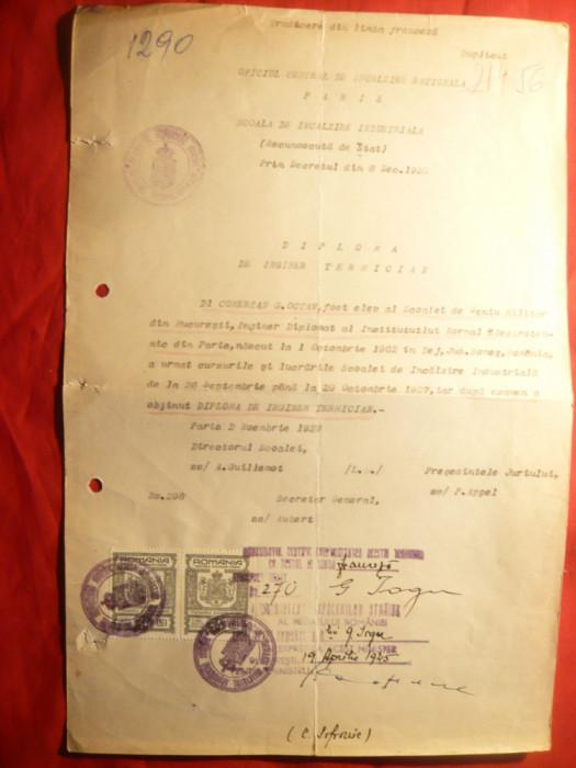 Diploma Inginer Termician -Sc.Incalzire Ind. Paris 1922 recunoscuta 1945 Romania
