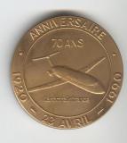 Medalie AVIATIE - Aniversare 70 ani Tarom & Air France 1920-1970