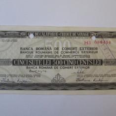 Cec de calatorie 500 Lei achitat/platit 1984 Ungaria