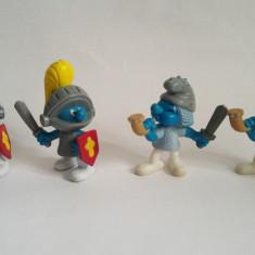 4 figurine strumfi Peyo 2005, soldati in armura, 6 cm, cap mobil - Figurina Desene animate