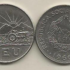 ROMANIA RSR 1 LEU 1966 [2] XF+, livrare in cartonas - Moneda Romania, Fier