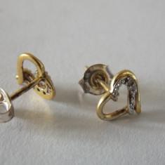 Cercei argint auriti cu diamante