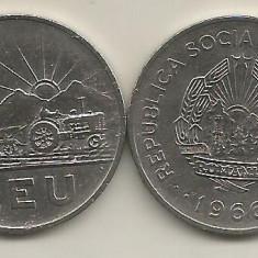 ROMANIA RSR   1  LEU  1966   [3]   XF  ,  livrare in cartonas