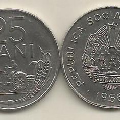 ROMANIA RSR 25 BANI 1966 [1] XF++ a UNC, livrare in cartonas - Moneda Romania, Fier