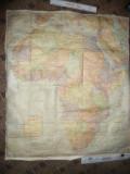 Harta veche a Africii -hartie panzata ,dim. 82 x 96 cm Ed. Rand M Nally Comp
