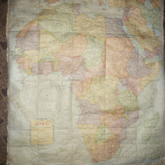 Harta veche a Africii -hartie panzata, dim. 82 x 96 cm Ed. Rand M Nally Comp