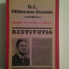 D.C. Ollanescu-Ascanio/Poezii, teatru, proza/Seria Restitutio/1988