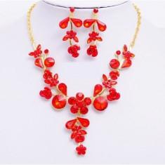 Bijuterii sultana cristale rosii placate cu aur