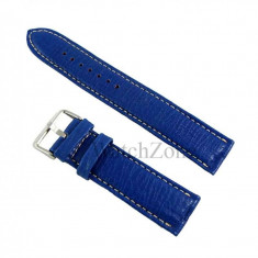 Curea ceas piele naturala albastra cusatura alba 22mm