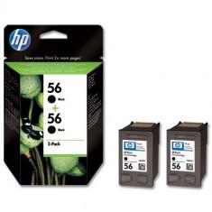 Cartus cerneala Original HP Negru 56 2-pack, compatibil DJ450/5150/5160/5xxx/96xx/7xxx/PSC1xxx/2xxx, 2x19ml