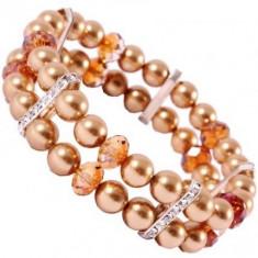 Bratara Briolette Pearl 2 Row Elastic Bracelet - Bratara Swarovski