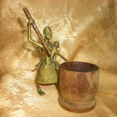 Africana! Sculptura brutalist modernista africana, bronz, lemn tek - Arta din Africa