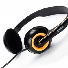 CASTI Spacer stereo cu microfon, jack 3.5mm, chatting, black & yellow