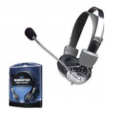 Casti Manhattan stereo cu microfon, Volume Control, Silver, Blister