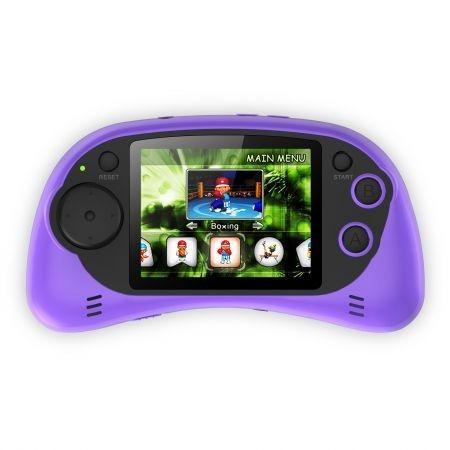 """Consola jocuri portabila Serioux, ecran 2.7"""", rezolutie 960x240 pixeli, 200 jocuri incluse, alimentare 3 baterii AAA sau prin miniUSB, culoare mov"""