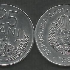 ROMANIA   RSR    25  BANI  1982   [1]  XF++  ,   livrare in cartonas, Aluminiu