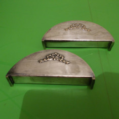Doua suporturi ART DECO ARGINTATE pentru SERVETELE, marcate, anii 1930, Ornamentale