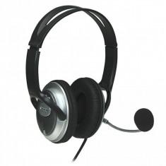 Casti Manhattan stereo cu microfon, Classic, Volume Control, Black, Blister