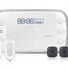 Kit sistem de alarma wireless Smanos X500, GSM/SMS/RFID, include: 1 senzor fereastra, 2 telecomenzi, 1 detector miscare, 2 tag-uri de proximitate... - Sisteme de alarma