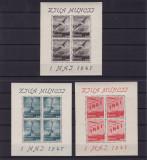 ROMANIA 1947  LP 218a - 1 MAI ZIUA MUNCII BLOCURI DE 4 TIMBRE MNH, Nestampilat