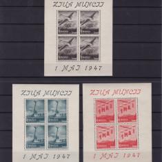 ROMANIA 1947  LP 218a - 1 MAI ZIUA MUNCII BLOCURI DE 4 TIMBRE MNH
