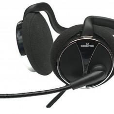 Casti Manhattan stereo cu microfon Behind-The-Neck, Volume Control, Black/Silver, Blister