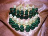 Cumpara ieftin Set sah marmura verde, alba, Italia, colectie, cadou, vintage