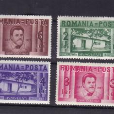 ROMANIA 1937 LP 118 CENTENARUL NASTERII LUI ION CREANGA SERIE CU SARNIERA - Timbre Romania, Nestampilat