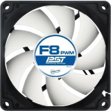 Cooler Arctic Fan for Case, F8 PWM PST 80x80x25 mm, w/ PWM & cablu PST, low noise FD bearing AFACO-080P0-GBA01