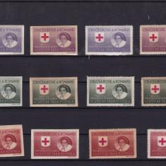 ROMANIA 1946  SERVICIUL PRIZONIERILOR DE RAZBOI HARTIE ALBA+HARTIE GRI SERII MNH