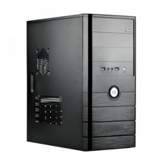 CARCASA Sprie fara sursa ATX, front USB & audio, suport 2x 80mm fan, black, fara sursa