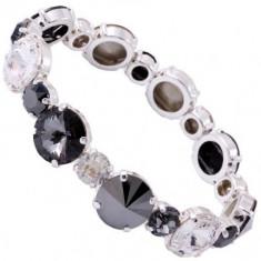 Multi Color Rivoli Chaton Elastic Bracelet (12/ss34) neagra - Bratara Swarovski