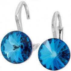 Cercei cu cristale swarovski albastre Rivoli r 8 Lvbck - Cercei Swarovski