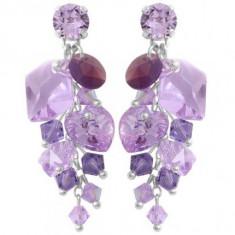Cercei cu cristale swarovski Violet Waterfall 4, 4cm - Cercei Swarovski