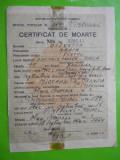 HOPCT CERTIFICAT DE MOARTE RPR  CAMPULUNG MUSCEL -ARGES 1962-OLIVOTTO MARIA, Romania 1900 - 1950, Documente